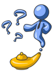 Clip Art Graphic of a Blue Genie Guy Character Emerging From A Golden Lamp With Three Available Wishes For His Master