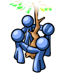Clip Art Graphic of Blue Guy Characters Holding Hands Around A Tree