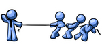 Clip Art Graphic of a Blue Guy Character Waving While Holding One End Of A Rope And Competing In A Tug Of War Contest With Three Other People