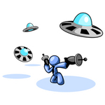 Clip Art Graphic of a Blue Guy Character In A Business Tie, Kneeling And Shooting Laser Guns At Attacking UFOs