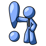 Clip Art Graphic of a Blue Guy Character Leaning Against Or Punching An Exclamation Point