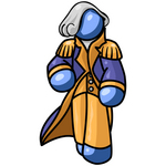 Clip Art Graphic of a Blue Guy Character Wearing A George Washington Costume And Wig