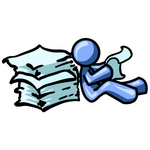 Clip Art Graphic of a Blue Guy Character Reading A Stack Of Papers