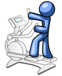 Clip Art Graphic of a Blue Guy Character Working Out On An Eliptical Trainer