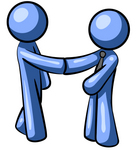 Clip Art Graphic of a Blue Guy Character Shaking Hands With A Client