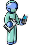 Clip Art Graphic of a Blue Guy Character Doctor Holding A Cell Phone And Clipboard