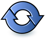 Clip Art Graphic of Blue Refresh Arrows For A Web Browser