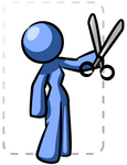 Clip Art Graphic of a Blue Woman Character Cutting Out A Coupon