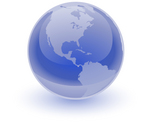 Clip Art Graphic of a Blue Globe Reflecting Light And Focused On The Americas