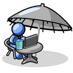 Clip Art Graphic of a Blue Guy Character Drinking A Beverage And Using A Laptop While Traveling
