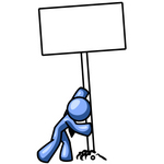 Clip Art Graphic of a Blue Guy Character Putting A Blank Sign In The Ground