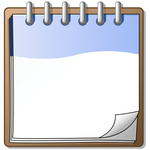 Clip Art Graphic of a Blue and White Spiral Notebook