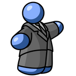Clip Art Graphic of a Fat Blue Guy Character In A Suit