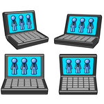 Clip Art Graphic of Blue Guy Characters Displayed On Laptop Computer Monitors
