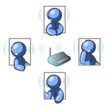 Clip Art Graphic of Blue Guy Characters In Four Poses, Holding A Meeting With Headsets