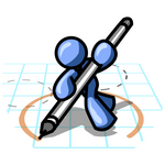 Clip Art Graphic of a Blue Guy Character On Graph Paper, Drawing A Circle
