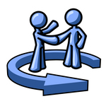 Clip Art Graphic of a Blue Guy Character Shaking Hands With A Client In The Center Of An Arrow