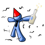 Clip Art Graphic of a Blue Guy Character In A Party Hat, Getting Drunk At A New Year Or Birthday Party