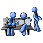 Clip Art Graphic of Blue Guy Characters Waiting At A Bus Stop Bench, Standing, Reading A Newspaper And Sitting