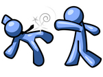 Clip Art Graphic of a Blue Guy Character Socking His Colleague