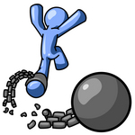 Clip Art Graphic of a Blue Guy Character Leaping Free From A Ball And Chain
