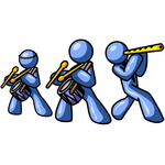 Clip Art Graphic of Blue Guy Characters Playing Drums And Flutes In A Band