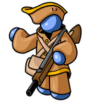 Clip Art Graphic of a Blue Guy Character In Historical Clothing, Holding A Rifle And Pointing