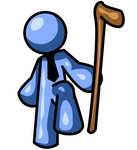 Clip Art Graphic of a Blue Guy Character Lifting His Foot And Holding A Cane
