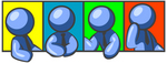 Clip Art Graphic of a Blue Guy Character In A Business Tie, Shown In Four Different Poses