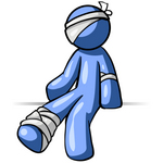 Clip Art Graphic of a Blue Guy Character Bandaged Up