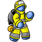 Clip Art Graphic of a Blue Guy Character Fireman Waving