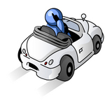 Clip Art Graphic of a Blue Guy Character Talking On A Cellphone And Driving