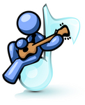 Clip Art Graphic of a Blue Guy Character Playing A Guitar On A Music Note