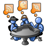 Clip Art Graphic of Blue Guy Characters On Laptops At A Table