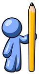 Clip Art Graphic of a Blue Guy Character Standing By A Pencil