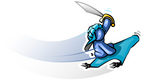 Clip Art Graphic of a Blue Guy Character With A Sword On A Magic Carpet