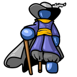 Clip Art Graphic of a Blue Guy Character Pirate