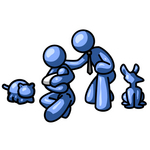 Clip Art Graphic of a Blue Guy Character With His Family And Pets