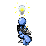 Clip Art Graphic of a Blue Guy Character Writing Ideas Down