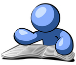 Clip Art Graphic of a Blue Guy Character Reading A Newspaper