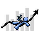 Clip Art Graphic of a Blue Guy Character On An Arrow, Drinking A Martini Over A Bar Graph