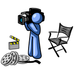 Clip Art Graphic of a Blue Guy Character With Film Reels, A Clapboard And Director's Chair, Filming A Movie