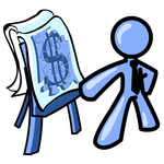 Clip Art Graphic of a Blue Guy Character Giving A Financial Presentation
