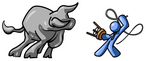 Clip Art Graphic of a Blue Guy Character Figint A Bull With A Stool And Whip