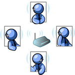 Clip Art Graphic of a Blue Guy Character In Four Poses, Chatting On A Headset