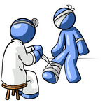 Clip Art Graphic of a Blue Guy Character Getting Bandaged By A Doctor