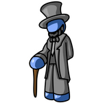 Clip Art Graphic of a Blue Guy Character Dressed As Abraham Lincoln