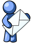 Clip Art Graphic of a Blue Guy Character Holding An Envelope