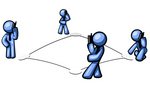 Clip Art Graphic of Blue Guy Characters On Bases, Talking On Cell Phones