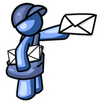 Clip Art Graphic of a Blue Guy Character Mailman Delivering A Letter